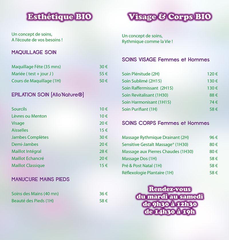 Prix et tarifs de soins cosmétiques et de bien-être Limoges